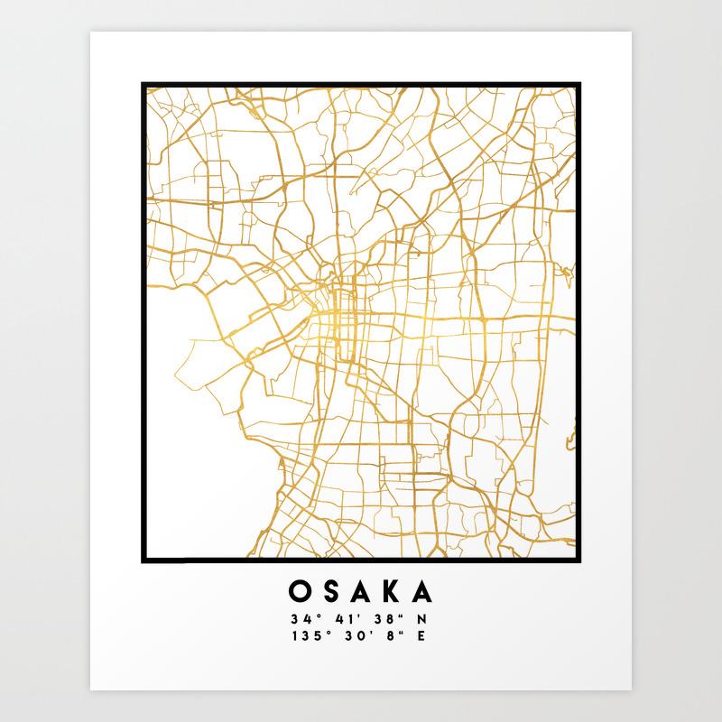 photo relating to Printable Maps of Japan referred to as OSAKA JAPAN Metropolis Road MAP Artwork Artwork Print