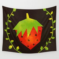 strawberry Wall Tapestries featuring Strawberry by Strawberringo
