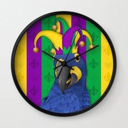 Jake the Jester - Mardi Gras Macaw Wall Clock