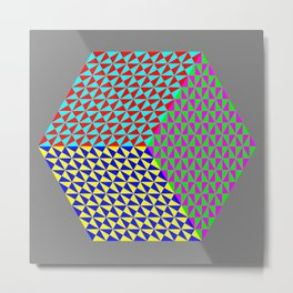 Hexagon of Colored Triangles Metal Print