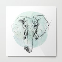 Elephant sketch // Aqua Blue Metal Print