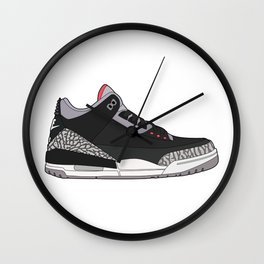 Jordan 3 - Black Cement Wall Clock