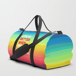 Life When You're Laughing Quote Duffle Bag