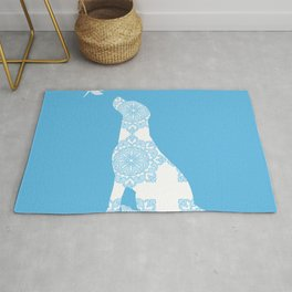 Labrador Retreiver Dog On Blue Colour Rug