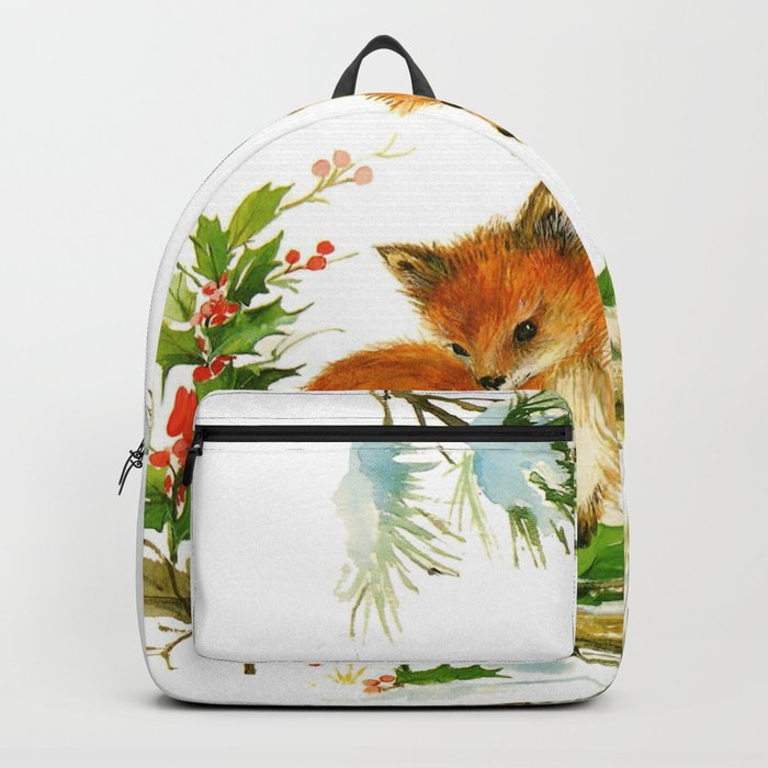 Vintage dream- little Winterfoxes in snowy forest Backpack