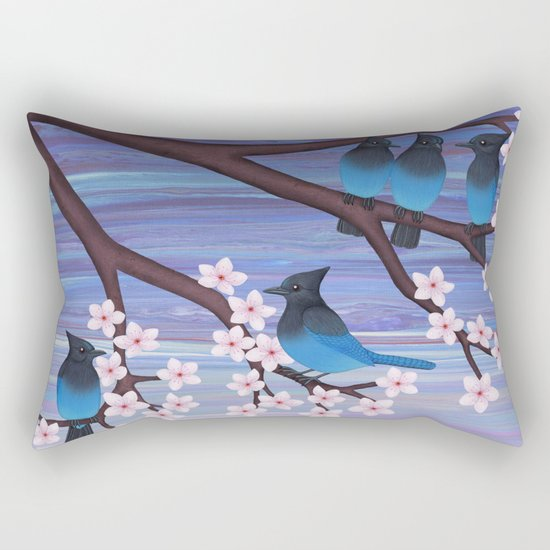 Steller's jays and cherry blossoms Rectangular Pillow