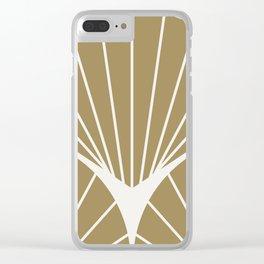 Diamond Series Round Sun Burst White on Gold Clear iPhone Case