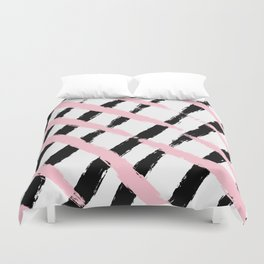 Pink and Black Sketch Checker Duvet Cover