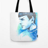 spock Tote Bags featuring Spock by Maria Bruggeman