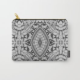 Elegant Black White Floral Lace Damask Pattern Carry-All Pouch