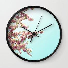 Pink Flowers on Aqua Blue Wall Clock