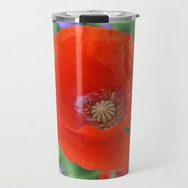 Red Poppy with Lupin by Mandy Ramsey, Haines, Alaska Travel Mug