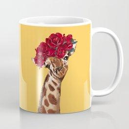 Giraffe with Rose Flower Crown in Yellow Coffee Mug