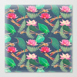 Lotus Flowers and Dragonflies Canvas Print