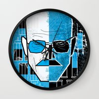 walter white Wall Clocks featuring Walter White by Micah Lanier