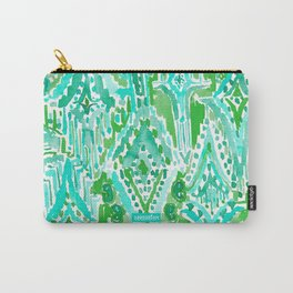 DROPS OF WONDER Green Ikat Tribal Carry-All Pouch