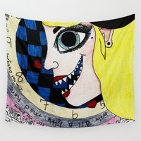 mad hatter Wall Tapestries featuring Mad Hatter in wonderland by Scenccentric Creations