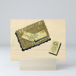 Brass Tray with Vintage Postage Holders in Gouache Mini Art Print