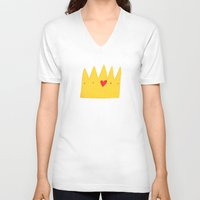 crown V-neck T-shirts featuring Crown by Mia Page