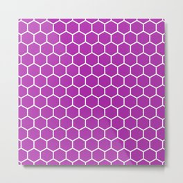 Honeycomb (White & Purple Pattern) Metal Print