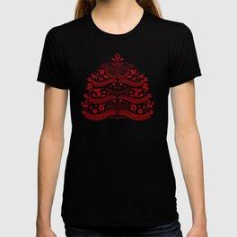 Red Scandinavian Folk Art Christmas Tree T-shirt