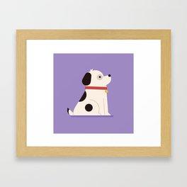 Cute Kawaii Dog Is Happy Framed Art Print