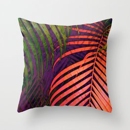 COLORFUL TROPICAL LEAVES no1 Throw Pillow