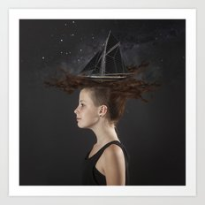 Sailing - Black Art Print
