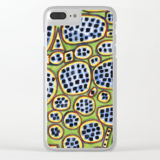 Blue-Black Seeds Pattern Clear iPhone Case