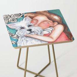 Sweet Coconut Original Art Schnauzer and girl Portrait Side Table