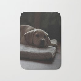 Cute puppy by Izaak Berkeley-Hurst Bath Mat