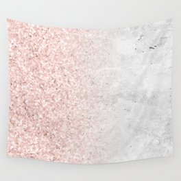 Blush Pink Sparkles on White and Gray Marble Wall Tapestry