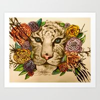 Tiger Coming Out of the Rose Bushes Art Print