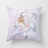 lily Throw Pillows featuring Lily by Lynn Bolt