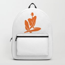 Sitting nude girl in orange Backpack