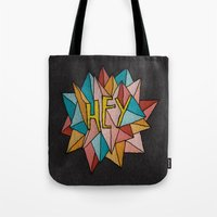 pixies Tote Bags featuring HEY by Josh LaFayette