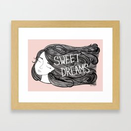 Sweet Dreams - Illustration by Taren S. Black Framed Art Print