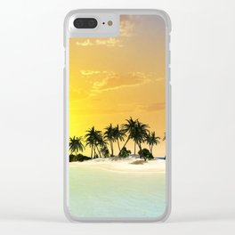 Island in the sunset Clear iPhone Case