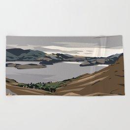 Cass Bay, New Zealand Beach Towel