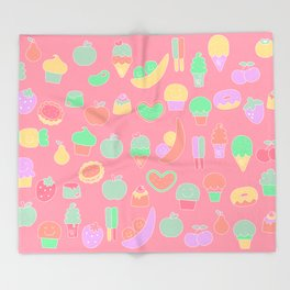 Sweet temptations, pink pastries, fruits and love Throw Blanket