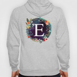Personalized Monogram Initial Letter E Floral Wreath Artwork Hoody