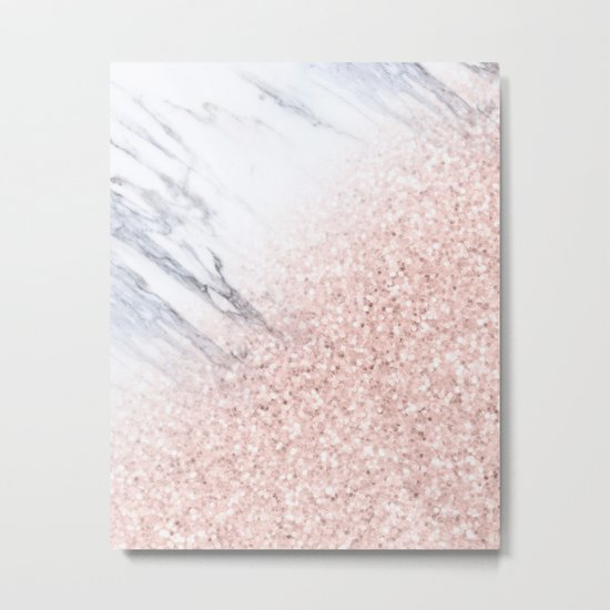 She Sparkles Rose Gold Pink Marble Luxe Geometric by naturemagick