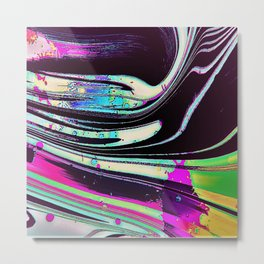Lines and spots of color abstract digital painting Metal Print