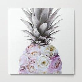 Pineapple, Vintage, Retro, Floral Blush Pink Roses Metal Print