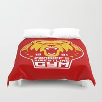 wrestling Duvet Covers featuring Russian Pro Wrestling by Buby87