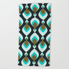 Retro pattern . Peacock Tail 2 . Beach Towel