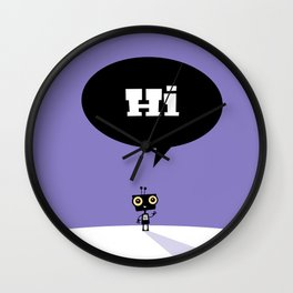 Childrens Room Illustration for Girls and Boys – Hi, little robot Wall Clock