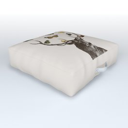 The Stag and Butterflies   Deer and Butterflies   Outdoor Floor Cushion