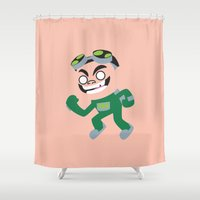 gizmo Shower Curtains featuring Gizmo by Adrian Mentus