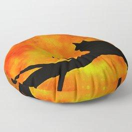 Black Cat #2 Harvest Moon Floor Pillow